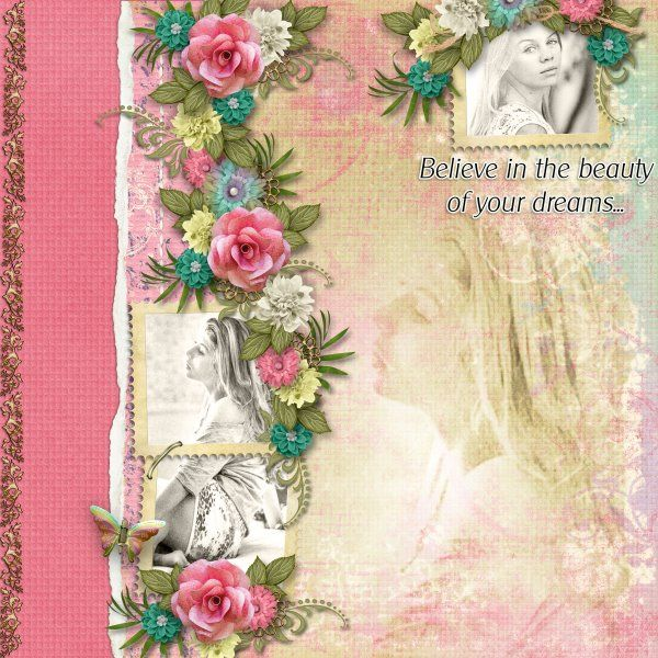 Kit Gather Your Dreams by Designs by Laura Burger. Template A Little Bit Artsy#4 Floral Fantasy by Heartstrings Scrap Art. Photos by Marta Everest Photography.
