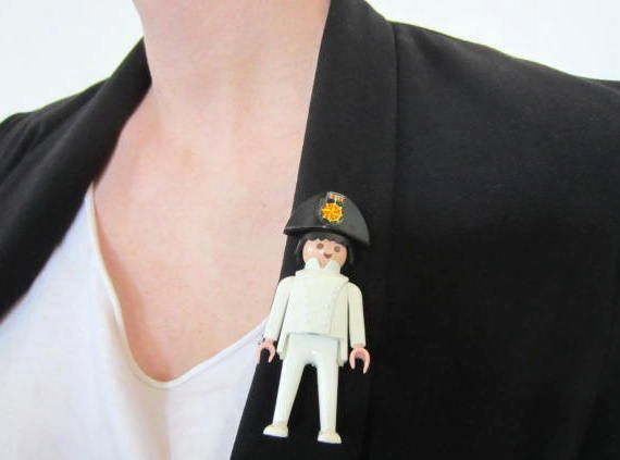 Playmobil Brooch 1800 man in white with Napoleon hat by GingerLab