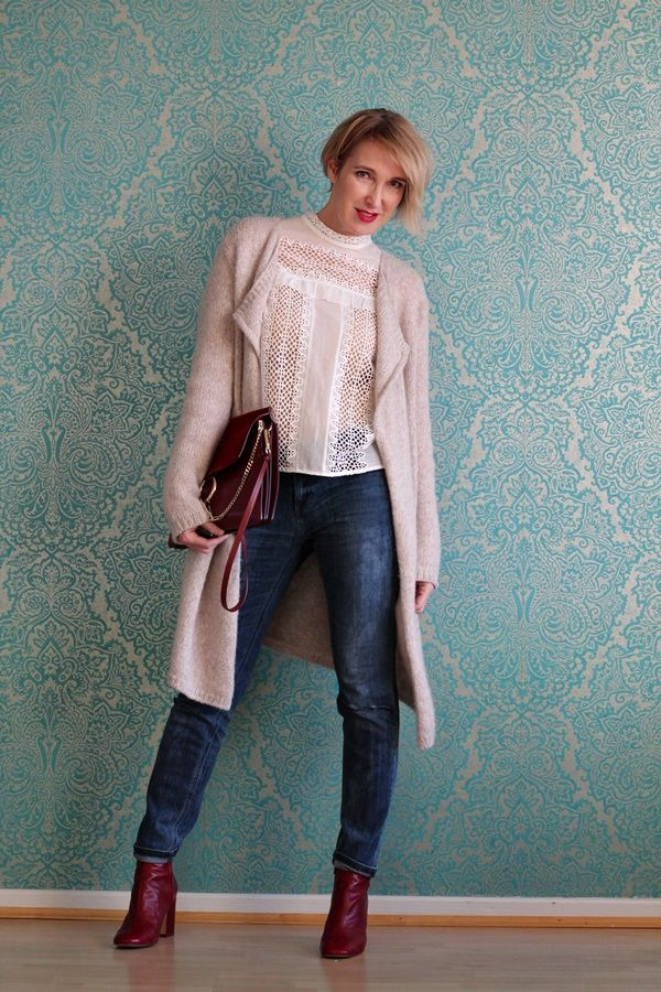 A fashion blog for women over 40 and mature women Blouse: Self Portrait Cardigan: Drykorn Denim: Calvin Klein Bag: Chloé Booties: Zara