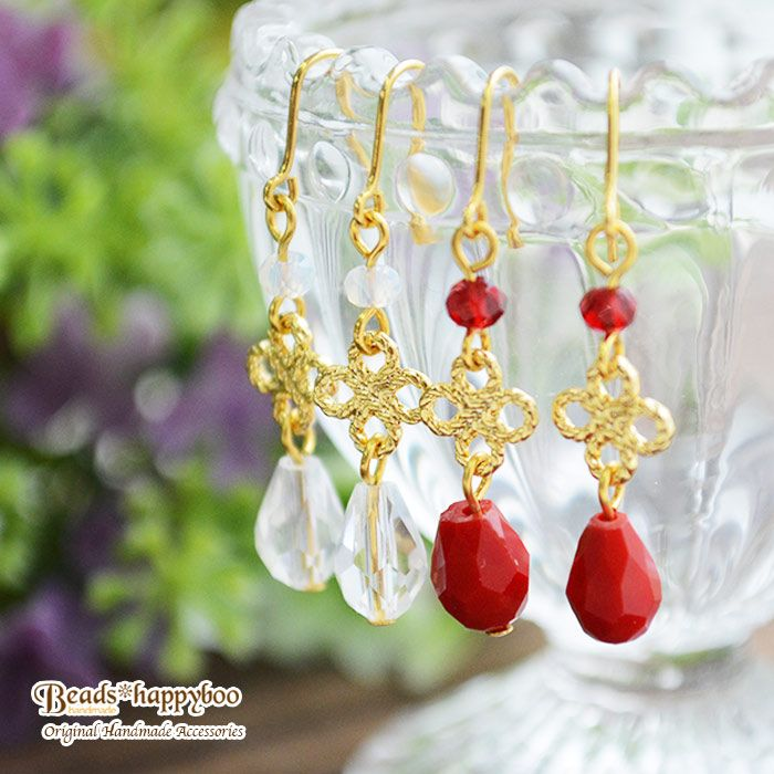 Watermark flower and glass drop earring  ガラスドロップと透かしフラワーのピアス(イヤリング・樹脂ピアス・チタンピアスへ変更可能)