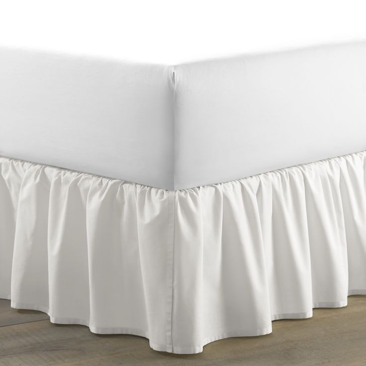 """Features:  -Lightweight Material.  -This bedskirt has a two split corner overlap construction with ruffle details at bottom edge of the drop.  -The drop height is of the bed skirt is 14.5"""".  -Can be u"""
