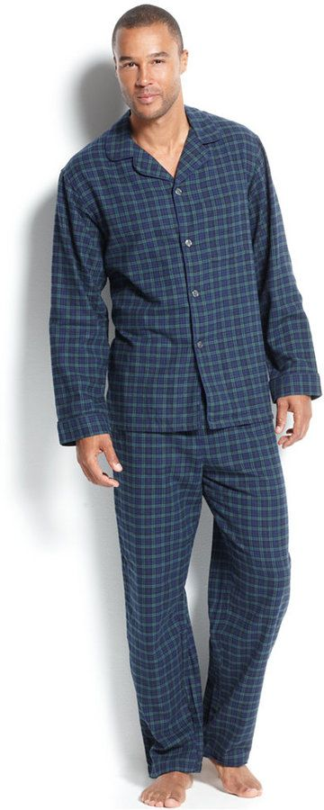 Club Room Men's Flannel Pajamas Set -- Blackwatch  Brinkley Family  Navy Glenplaid  Tonal  Burgundy Glenplaid  Look forward to bedtime! This flannel pajamas set from Club Room has a soft finish made for relaxing.