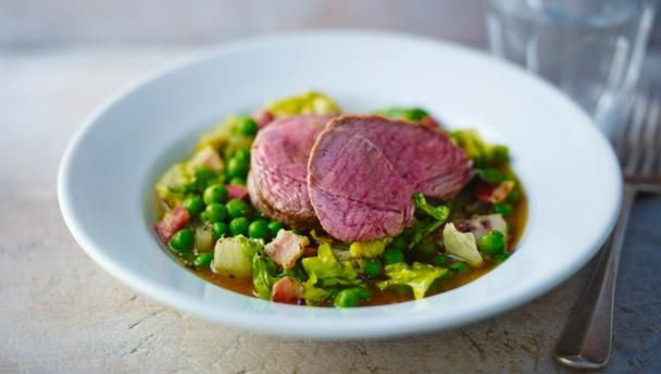 Roast lamb accompanied by peas, mint and lettuce, this recipe captures Spring's sweetness and freshness.  This meal provides 451 kcal, 37g protein, 5.5g carbohydrate (of which 2.5g sugars), 31g fat (of which 14.5g saturates), 2.3g fibre and 1.9g salt per portion.