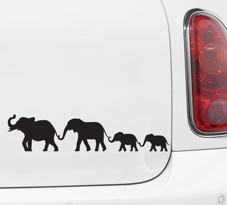 Cute family of elephants walking in a line holding trunks to tails add extra babies with the extra babies decals can be cut apart before application t