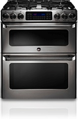 with a ge caf double gas range you can prepare two different dishes at two different at the exact same time that means while your chocolate