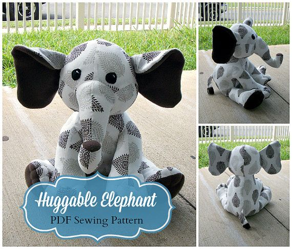 **Use coupon code HUGGABLEFAN to receive 15% OFF purchasing two or more sewing patterns! **   Sew your own Huggable Elephant with this instant download pattern!  This listing is for two PDF files. The first PDF file is for the instructions with the pattern to print out. The second file is a step by step photo tutorial to help you through the sewing process of creating your plush. I created these separately that way you have the option of printing out the photos if desired with the pattern…