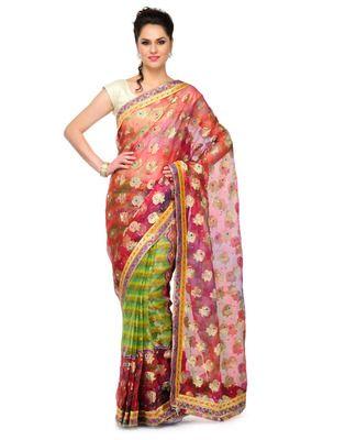 Red Stone work tissue saree half saree banarasi saree with blouse