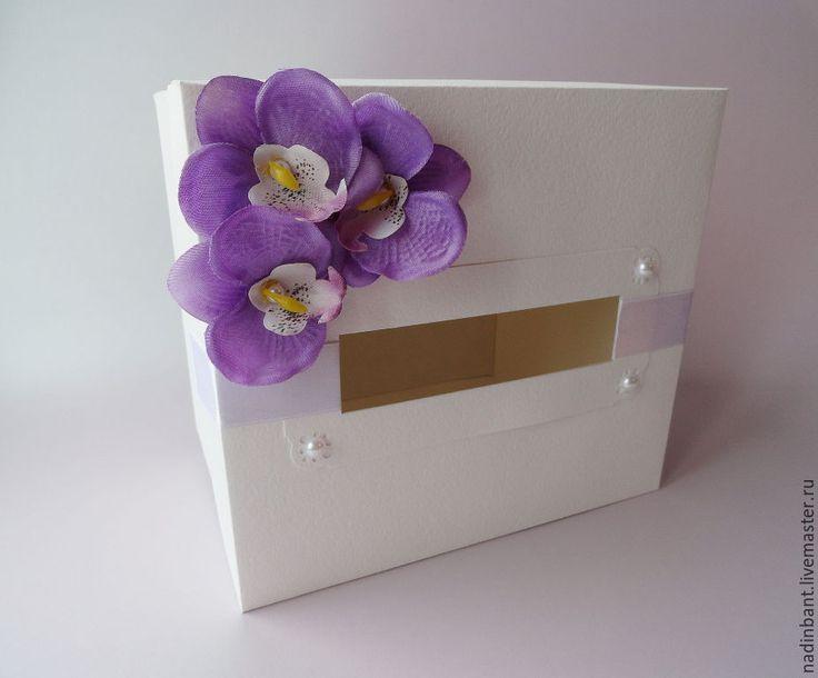 """Купить Коробка """"Орхидея"""" для денежных свадебных подарков - сиреневый, бело-сиреневый, коробка, коробка для денег"""