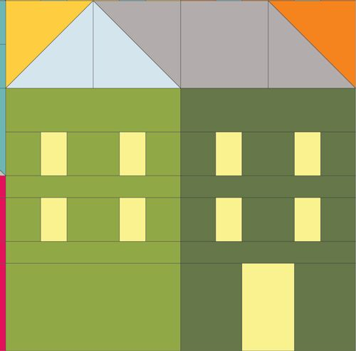 (7) Name: 'Quilting : Hillside Houses Block 3