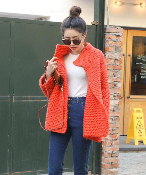 Latest Korean Fashion | K-pop Styles | Fashion Blog: [Stylenanda] Open Knit Coat