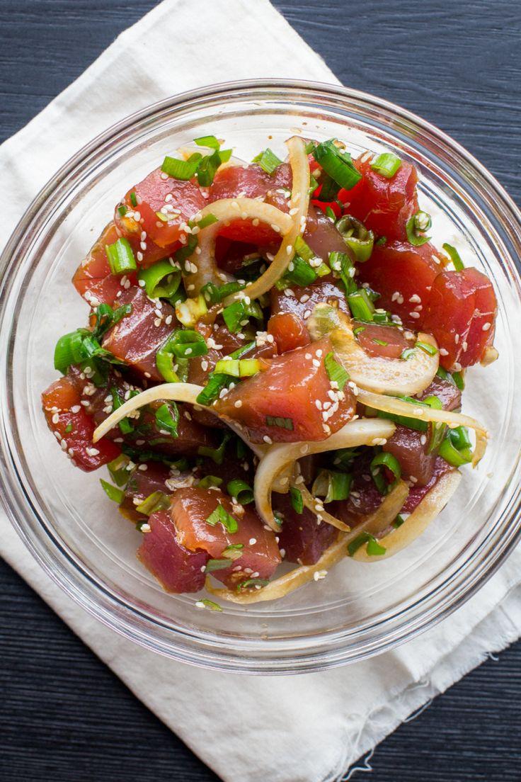 how to cut tuna for poke