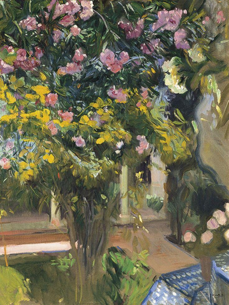 "thunderstruck9: "" Joaquín Sorolla (Spanish, 1863-1923), Oleanders, the Courtyard of the Artist's Home, c.1918. Oil on canvas, 105 x 82 cm. """