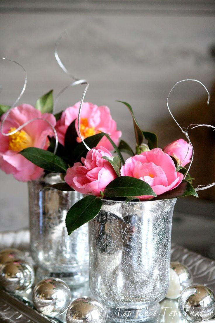 Camellias and mercury glass
