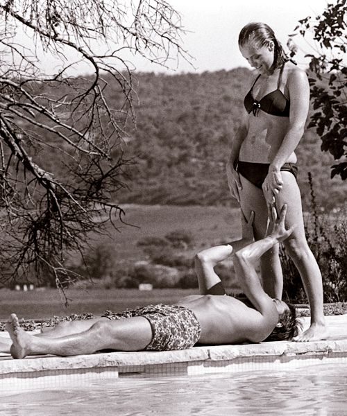 """Romy Schneider & Alain Delon 1969 La Piscine. She said afterwards, """" Embracing him after all those years was like hugging a wall. I felt nothing."""""""