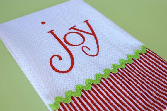 Joy Christmas Kitchen Towel by TracyScottDesign on Etsy, $12.00