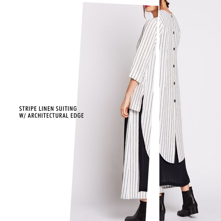 Refresh your wardrobe with the linen stripe suiting - featured in bianco + ink...