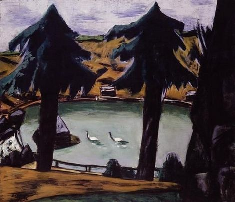 Max Beckmann (1884-1950), Mountain Lake with Swans 1936 (65 x 75,5 cm) on ArtStack #max-beckmann-1884-1950 #art