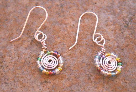 Handmade Pink Wire Wrapped Earrings , Multicolored Glass Bead Wire Earrings , Spring Color Jewelry on Etsy, $12.00