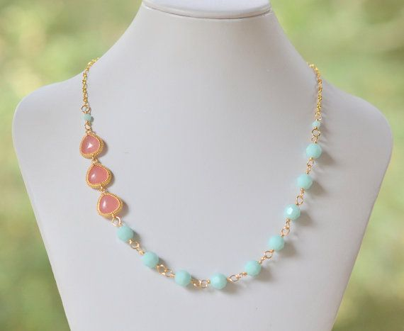 Coral Pink Jewel Statement Necklace with Seafoam Mint Alabaster Swarovski Crystals in Gold. Bridesmaid Necklace. Fashion Jewelry.
