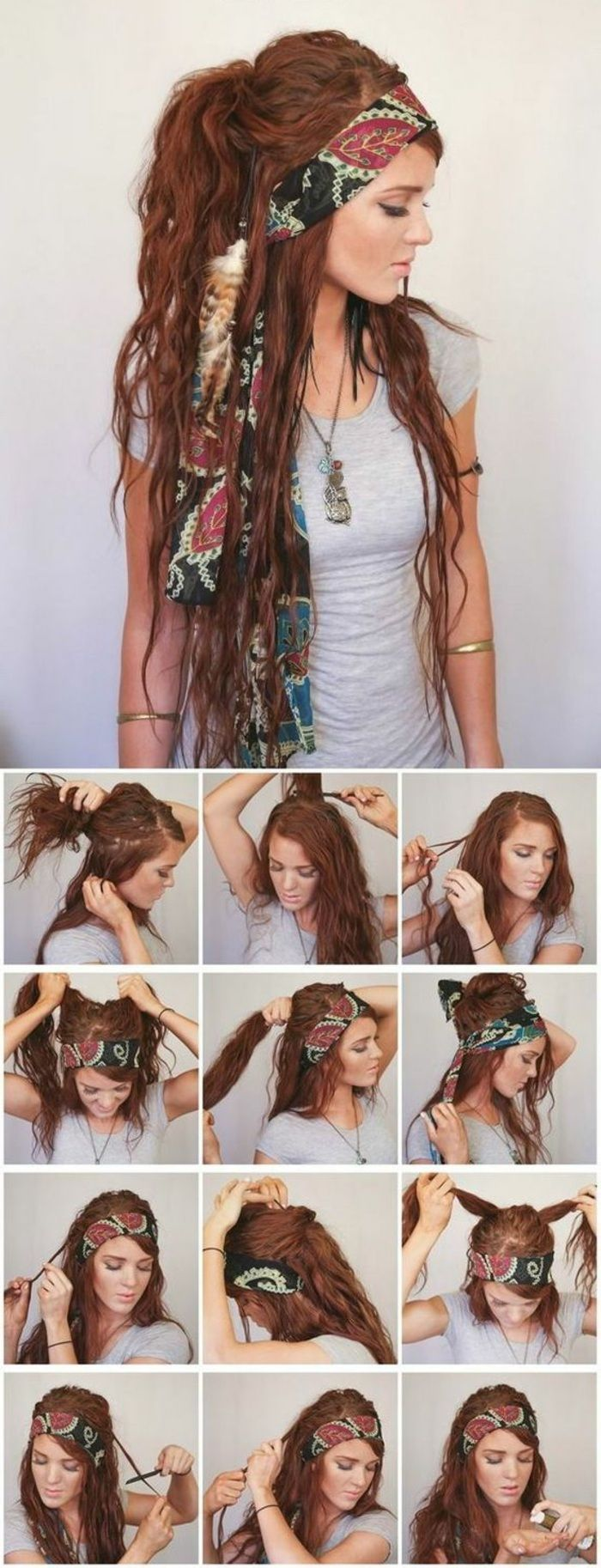 long, red hair, gray blouse, necklace, grunge hairstyle – Hairstyles for long hair – #Bluse #Hairstyles # for #Gray #GrungeHairstyle