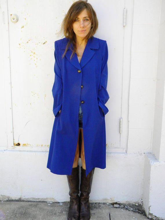 Cobalt blue violet SPRING car coat. long walking coat. LADYLIKE