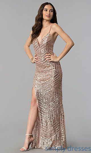 bd42cba2d2a210 Shop long sequin-pattern prom dresses in rose gold at Simply Dresses. Rose  gold formal dresses and sequin evening dresses with adjustable spaghetti  straps