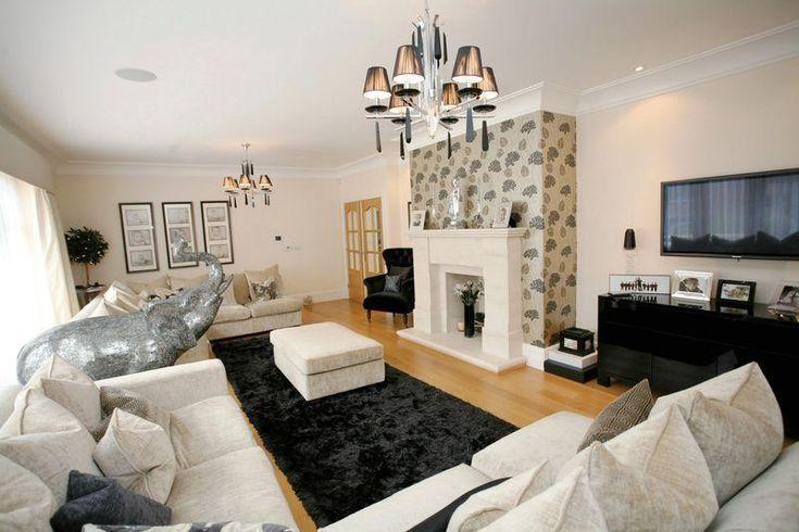 Similar living room shape balck and white decor