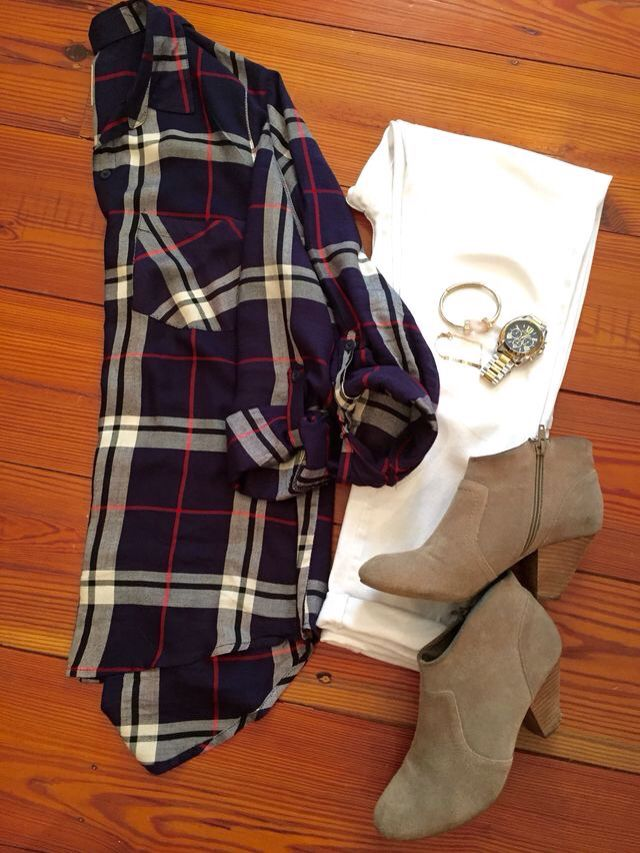 plaid + white jeans + booties