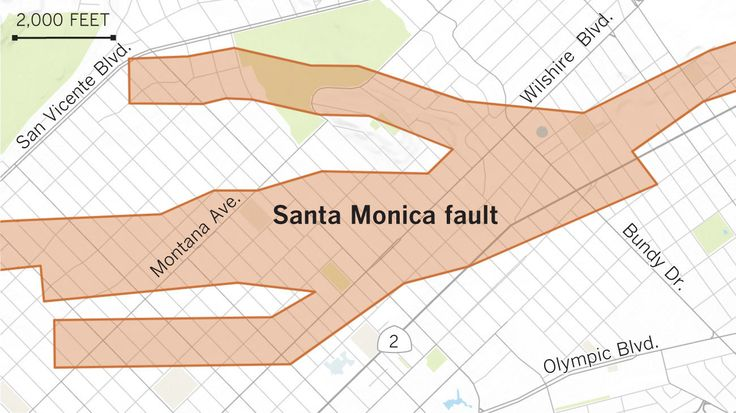 The Santa Monica earthquake fault lines diverging in the Brentwood and Gillette-Regent Square areas of the Los Angeles-Santa Monica border