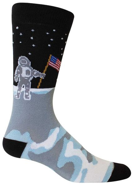 One small step for man... wonder what kind of socks Neil Armstrong was wearing?  Black crew length socks with an astronaut walking on the moon and planting an American Flag.  Fits men's shoe size 8-12.5.