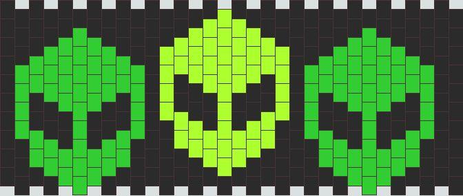 Aliens Cuff Pony Bead Patterns | Misc Kandi Patterns for Kandi Cuffs