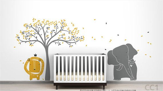 Modern Baby Zoo Wall Decal Mural by LittleLion by LeoLittleLion, $149.00