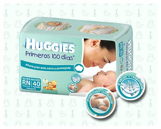 HUGGIES® RECIÉN NACIDO La primera ropita de tu bebé. Especialmente diseñados para la delicada piel de su bebé. Son los pañales especialmente diseñados para tu bebé en los primeros días de su vida. Mantienen el PH natural de las pieles más sensibles y delicadas. Diseño especial para protección del ombligo. Con velcro, que permiten revisar y ajustar cuantas veces quieras el pañal. Con cubierta interna especialmente desarrollada que mantiene la colita del bebe fresca y limpia.
