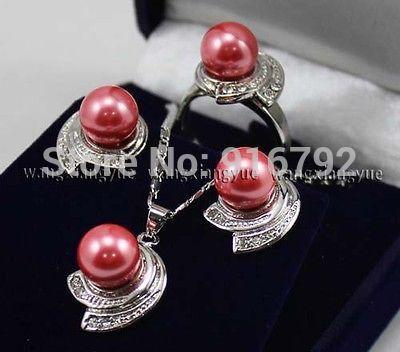 Hyfy20143256e ****** розовые розы юг морские раковины жемчужные серьги кольцо и ожерелья комплект