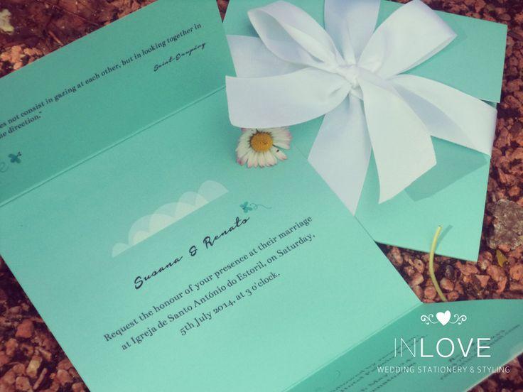 { S & R Tiffany's & Co inspired invitation }  Pormenor: Tríptico 12,5 x 12,5 /// impressão frente e verso /// com laço em cetim