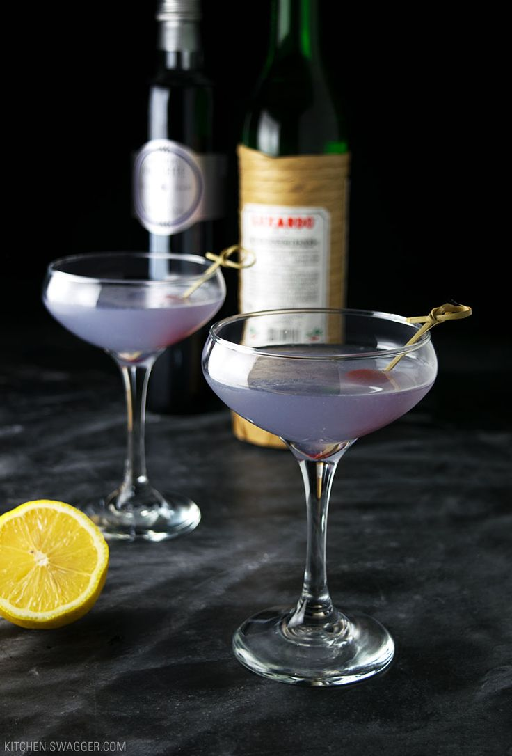 The Aviation cocktail is a Prohibition-era cocktail, consisting of gin, maraschino liqueur (cherry), crème de violette, and fresh lemon juice.