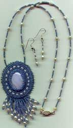 Beaded Cabochon Necklace and Earrings