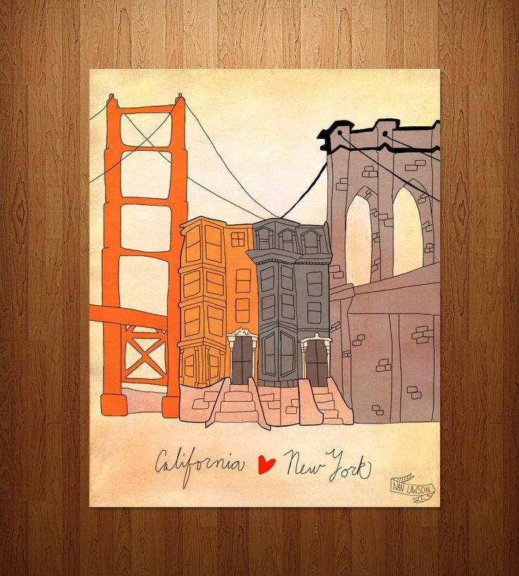 California & New York Art Print