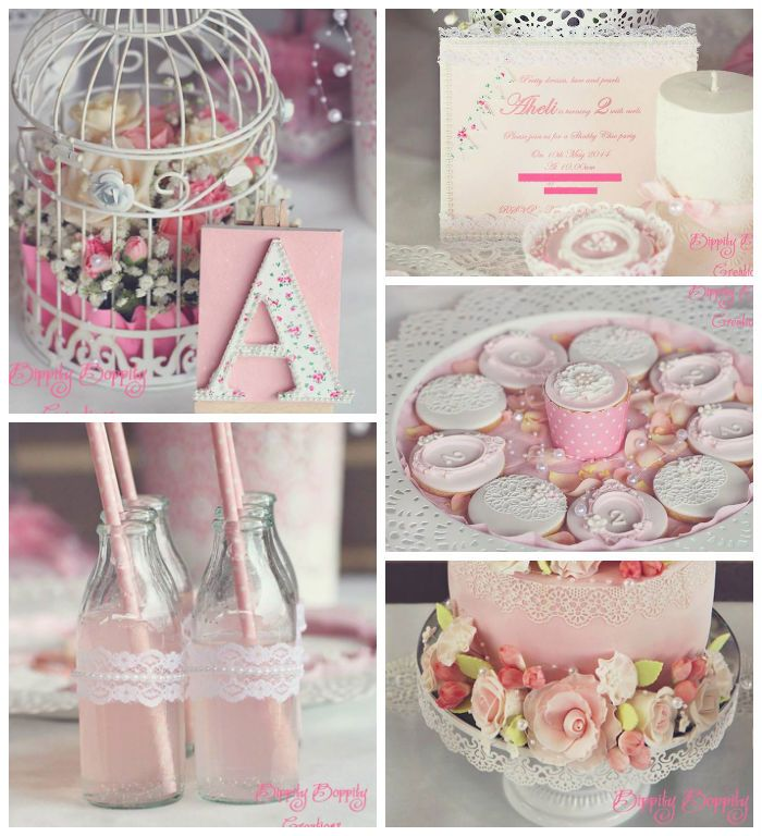 Shabby Chic themed birthday party with Such Cute Ideas via Kara's Party Ideas! full of decorating ideas, cakes, cupcakes, recipes, games, pr...