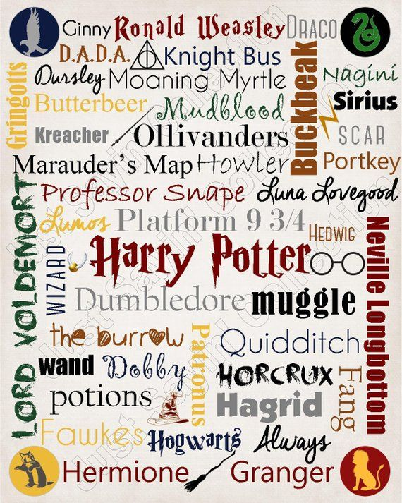 Harry Potter Printable Subway Art 8 x 10 inches Instant