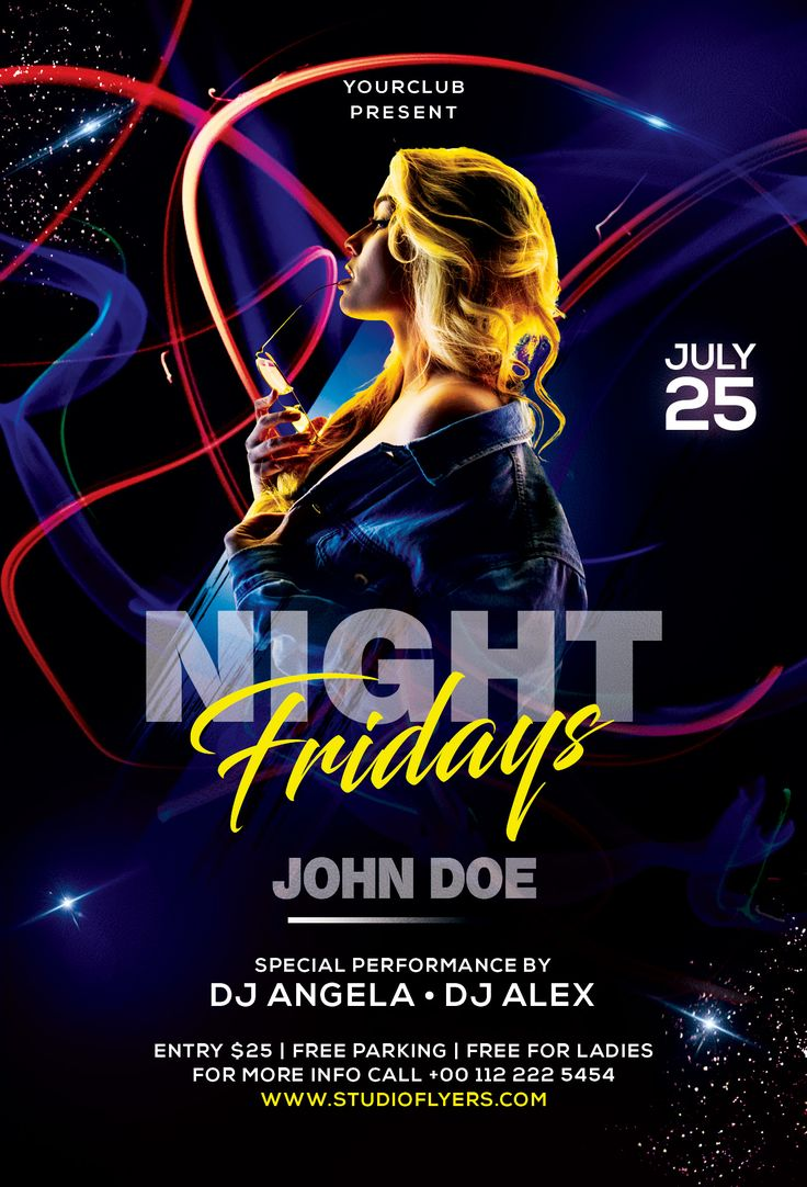 Club Dj Night Free PSD Flyer Template in 2020 (With images