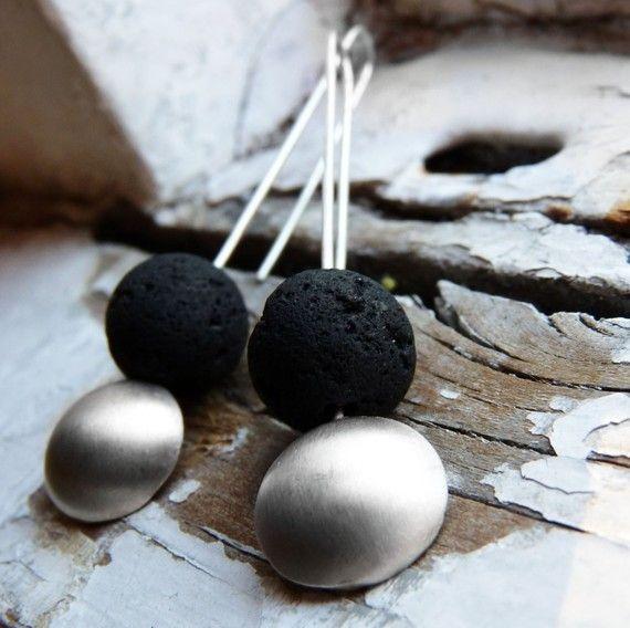 Magma pendientes pendientes de plata mates diseño por aforfebre