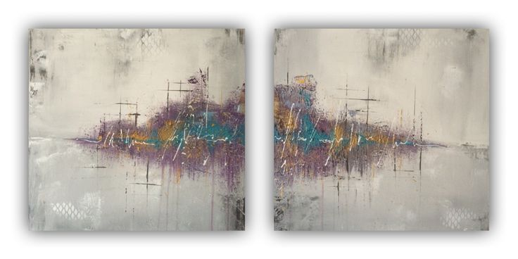 Abstract painting purple 50x50cm, acrylic heavy structured by Erica Willemsen