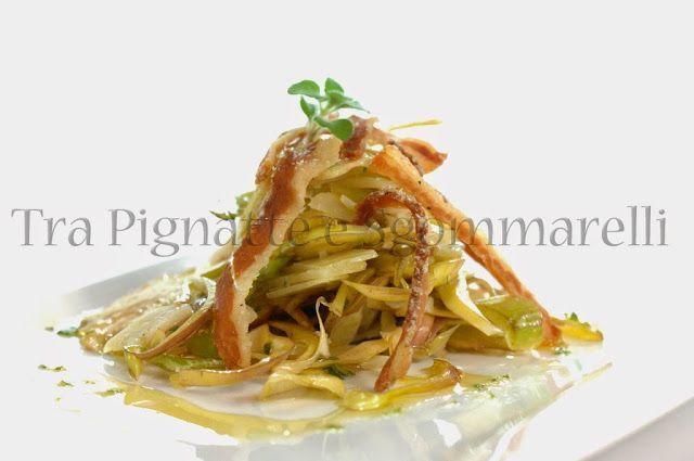 Le mie ricette - Insalata di carciofo romanesco, pecorino romano e guanciale croccante, al profumo di menta romana | Tra pignatte e sgommarelli