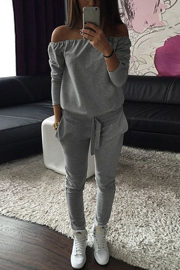 Grey Casual Off-shoulder Jumpsuit With Pockets - US$19.95 -YOINS