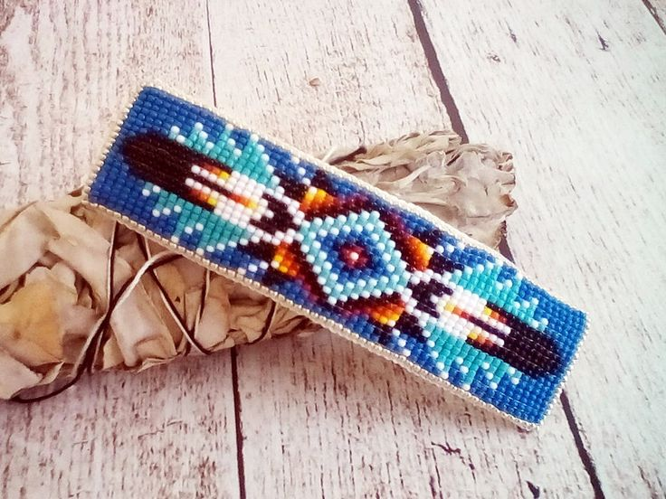 Native American Style Beadwork Barrette | Beaded Barrette | Native American Hair Accessories | Beaded Hair Clip | Denim Blue | 2017002 – BLU by SpiritWolfArtistry on Etsy