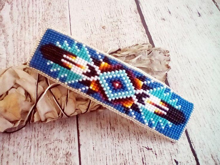 Native American Style Beadwork Barrette | Beaded Barrette | Native American Hair Accessories | Beaded Hair Clip | Denim Blue | 2017002 – BLU by SpiritWolfArtistry on Etsy