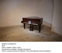 Musica Concreta, Glenda León piano, keyboards arranged as box 2015 XII Bienal de La Habana
