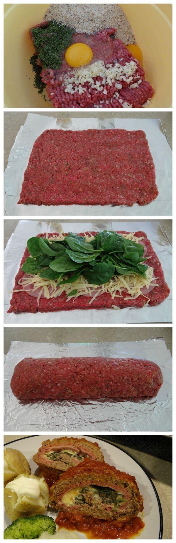 Rollo de carne  Molida con espinacas,queso,jamón huevo,especias pan molido etc..