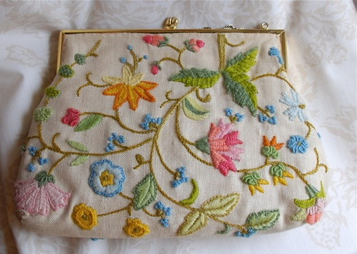 Vintage Crewel Embroidered Linen Handbag
